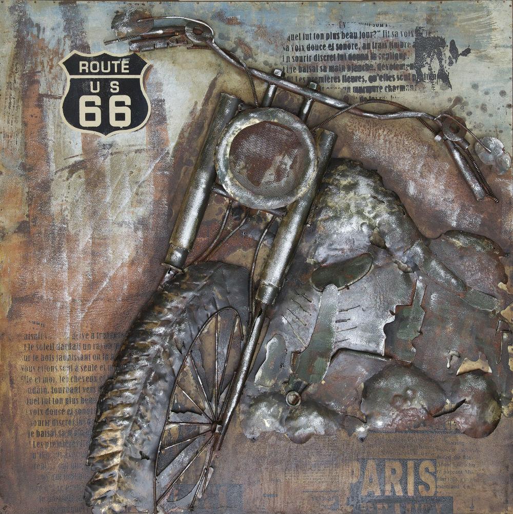 3d Schilderij Metaal.Motor Route66