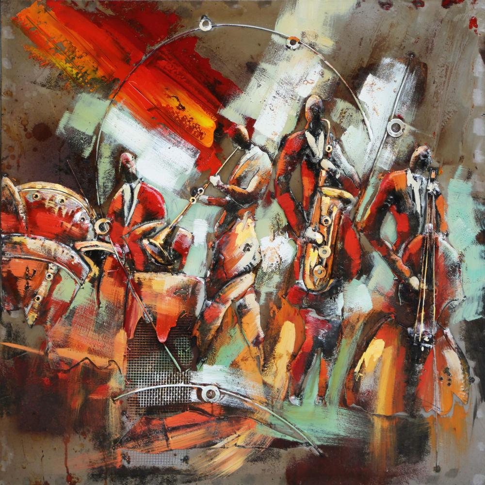 Metalen 3d Schilderij.Kleurrijk Orkest