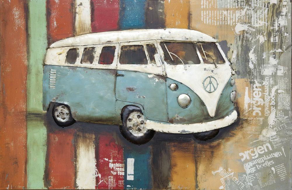 """Metalen schilderij """"Volkswagenbusje"""""""