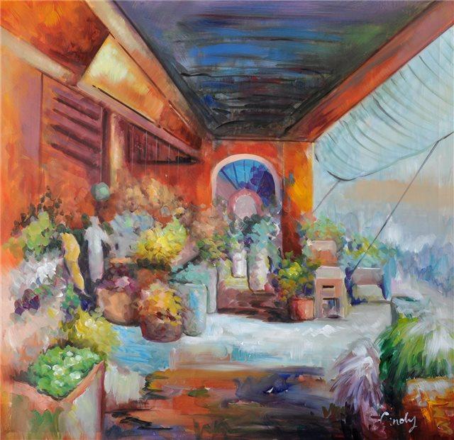 "Schilderij ""Turks bloemenwinkeltje"""