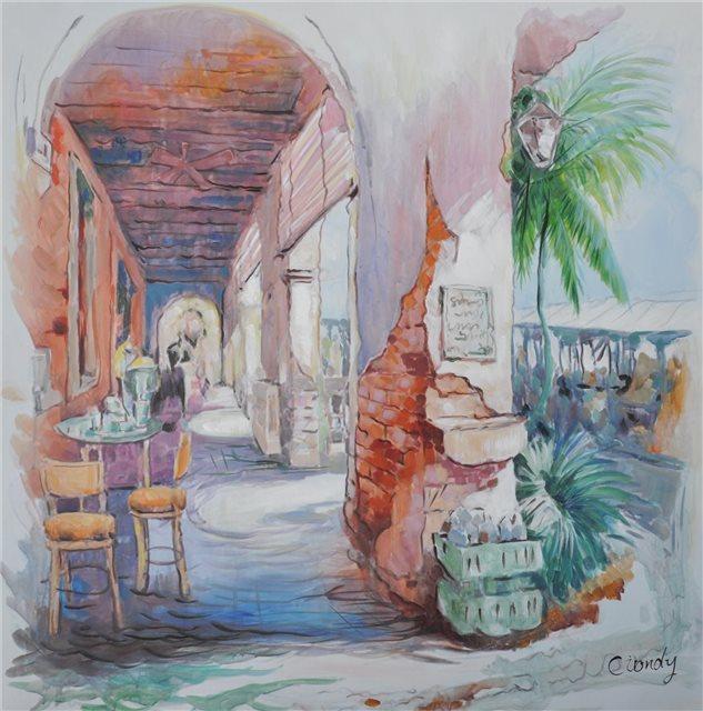 "Schilderij ""Veranda op Mallorca"""