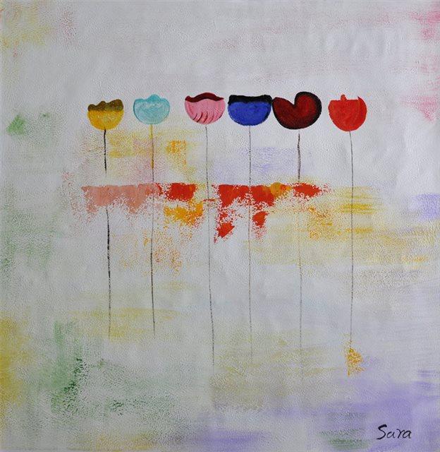 """Schilderij """"Zes tulpen op een rij"""""""