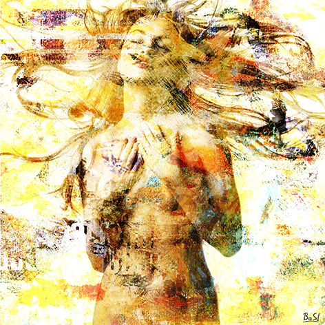 "Aluminium schilderij ""BAS 4Dreams – Girl on white and gold"" van Mondiart"