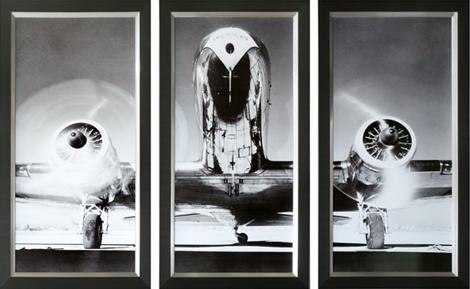 """Ingelijste poster """"Drieluik klassiek vliegtuig Take-off"""" van Mondiart"""