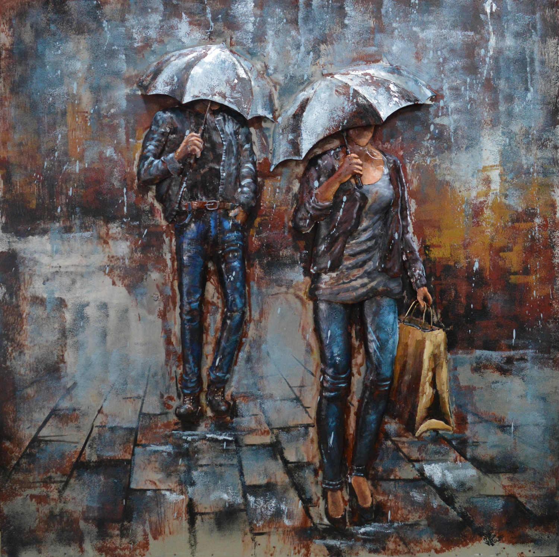3d Schilderij Metaal.Mensen Met Paraplu