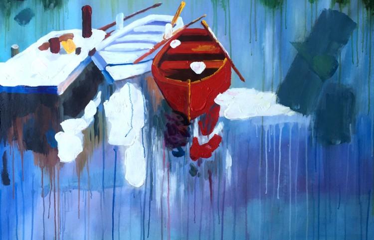"""Schilderij """"Bootjes aan de steiger"""""""