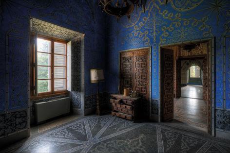 "Aluminium schilderij ""Lacour – Blauwe kamer"" van Mondiart"