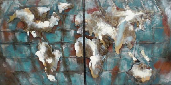 """Metalen schilderij """"Tweeluik van de wereld"""""""
