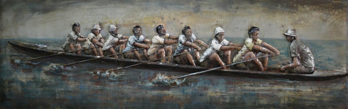 metalen schilderij kano met acht