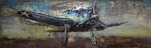 """Metalen schilderij """"Klassiek oorlogsvliegtuig"""""""