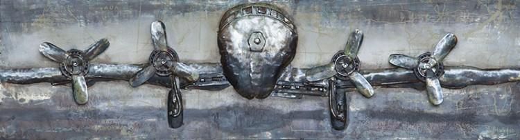 """Metalen schilderij """"Klassiek propellorvliegtuig"""""""