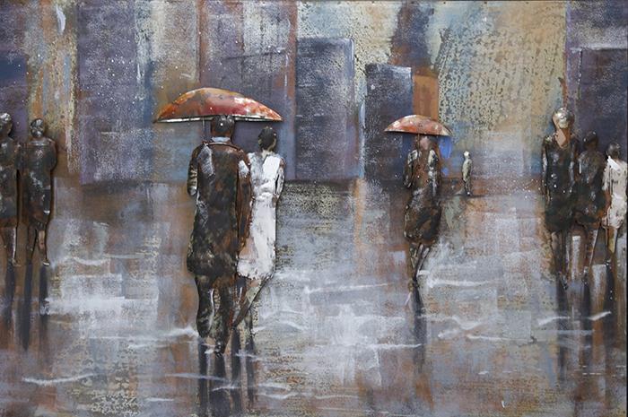 metalen schilderij mensen in de regen