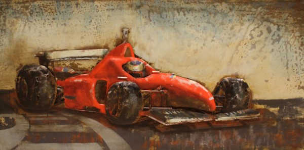 """Metalen schilderij """"Rode raceauto"""""""