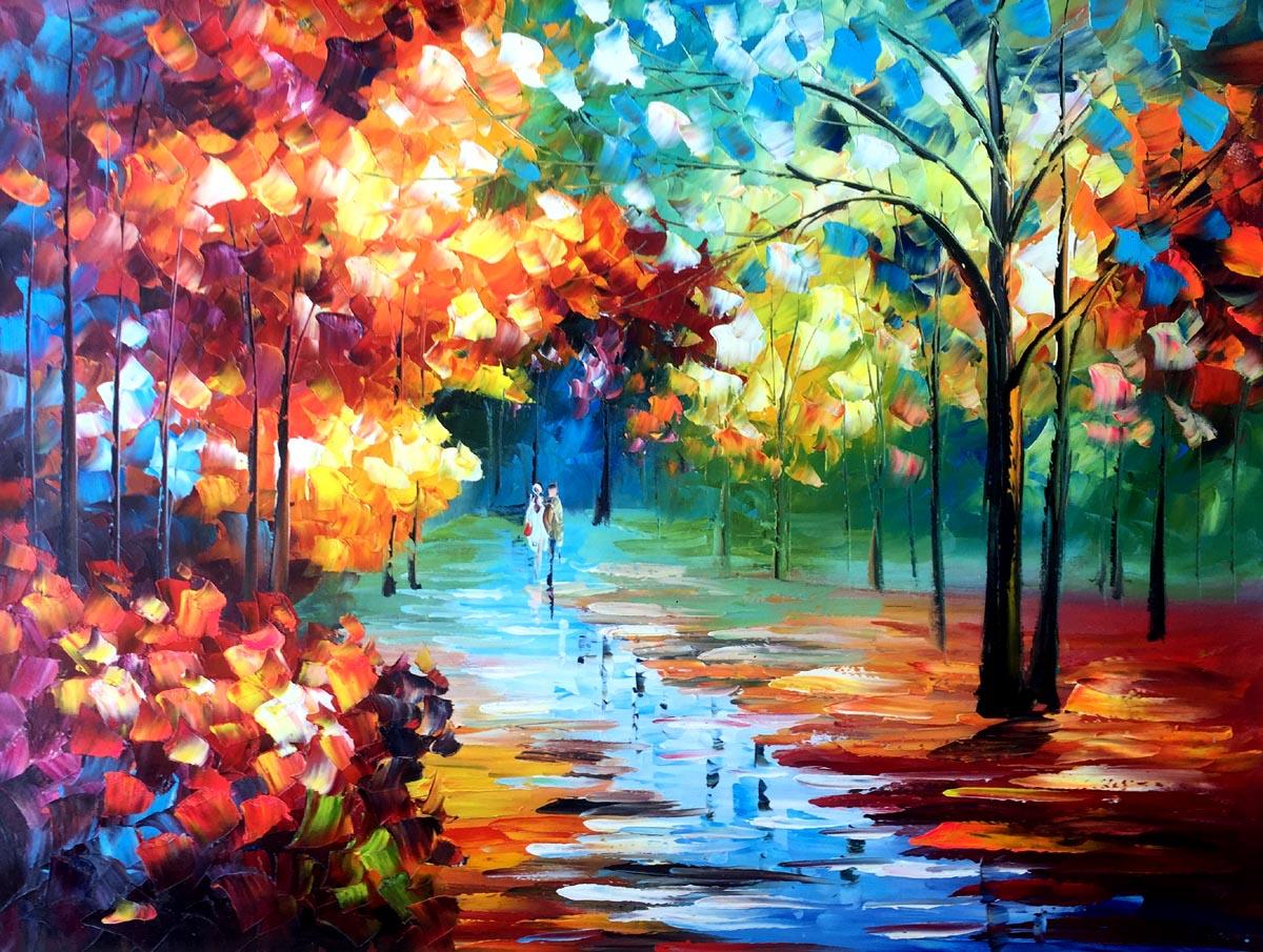 Schilderij kleurrijke boswandeling te koop for Schilderij woonkamer