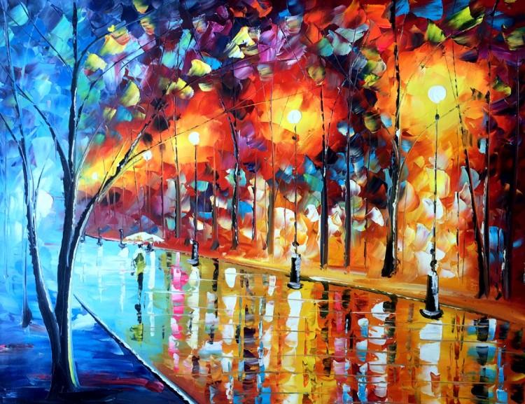 """Schilderij """"Kleurrijk verlichte straat"""""""