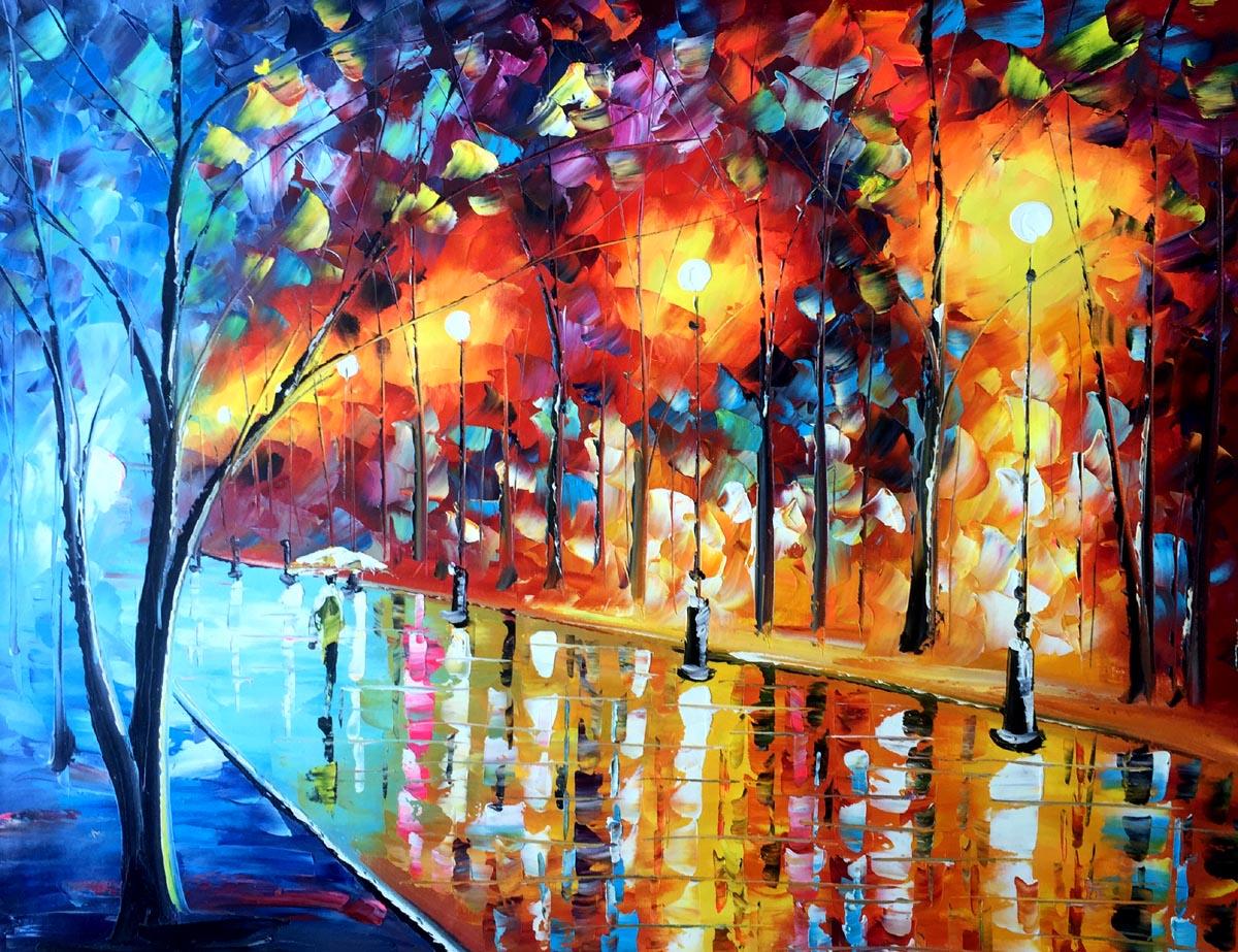 palet schilderij kleurrijke straat