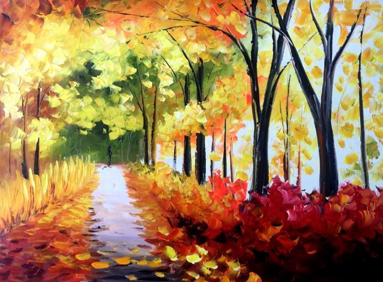 """Schilderij """"Bospad in de herfst"""""""