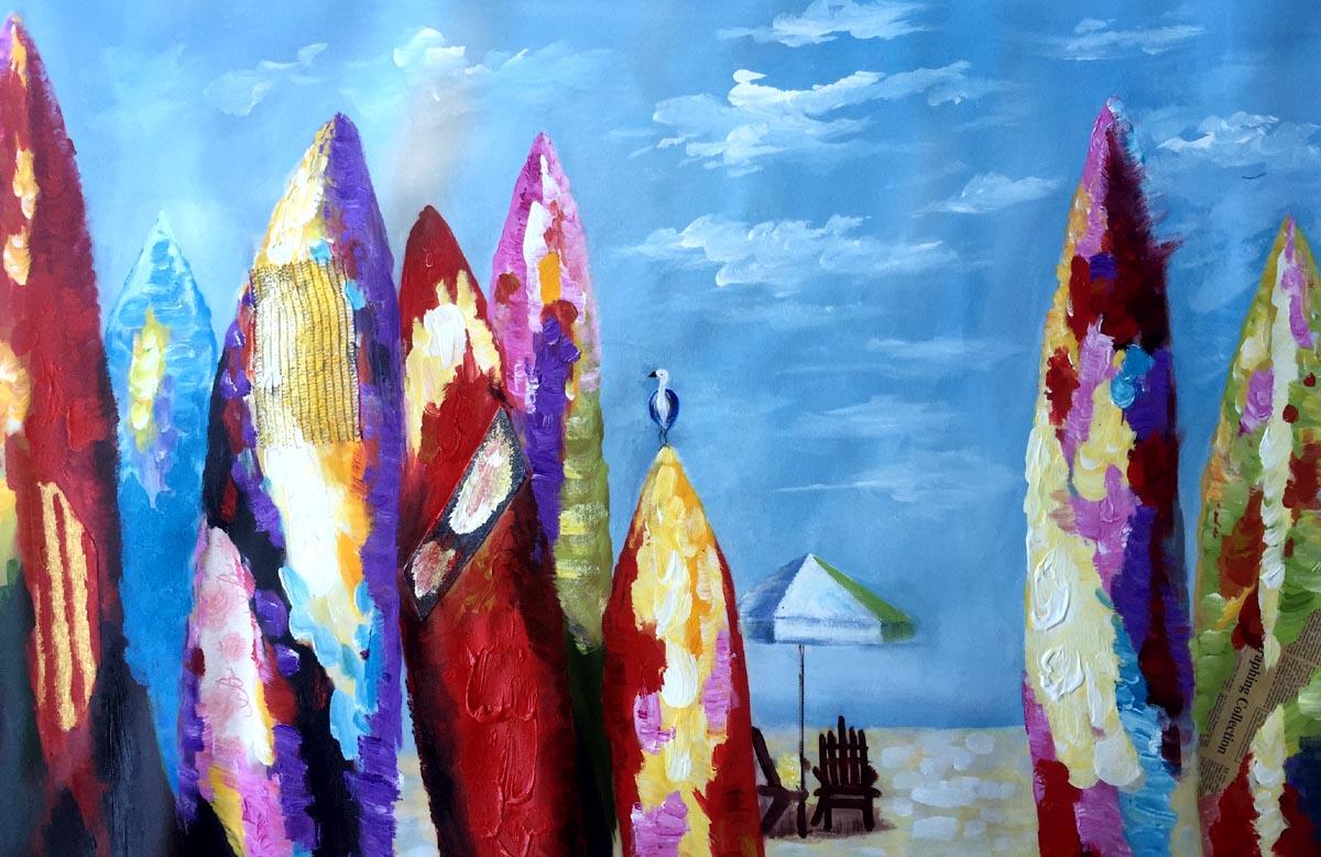 schilderij kleurrijke surfplanken aan zee