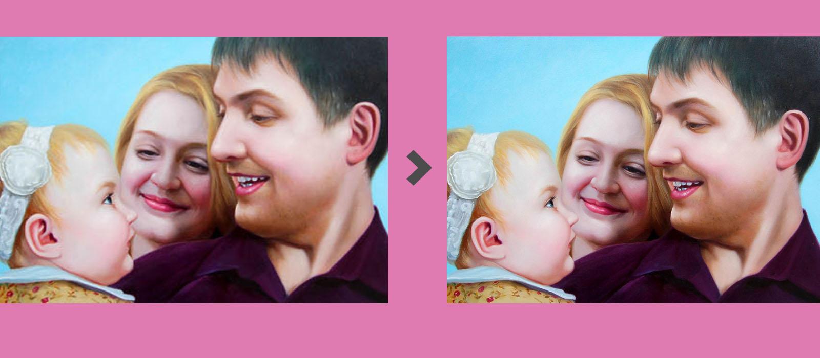voorbeeld kopie maatwerk schilderij familieportret