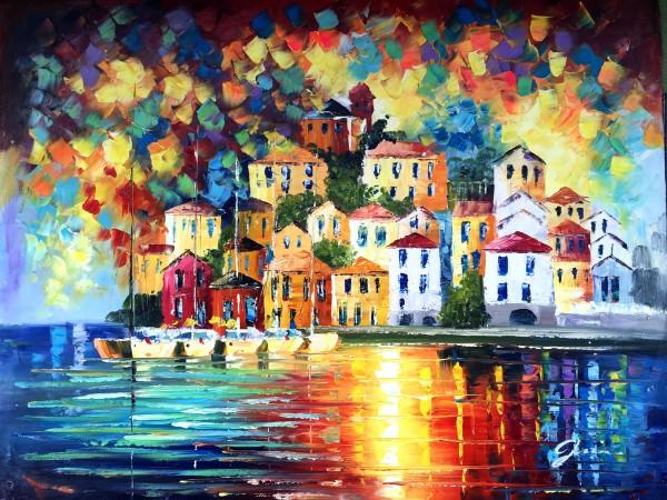 """Schilderij """"Kleurrijke huisjes aan zee"""""""