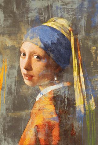 """Aluminium schilderij """"Meisje met de parel 2.0 (dibond)"""" van Mondiart"""