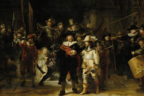 Reproductie schilderij De Nacht wacht van Rembrandt van Rijn