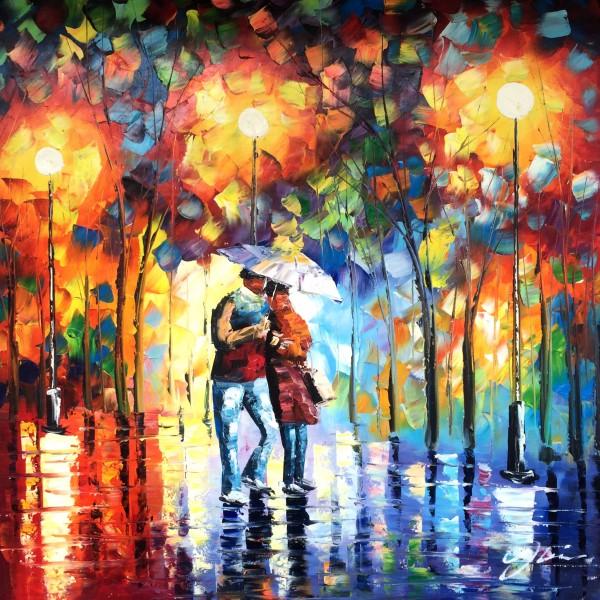 """Schilderij """"Avondwandeling kleurrijk stel"""""""