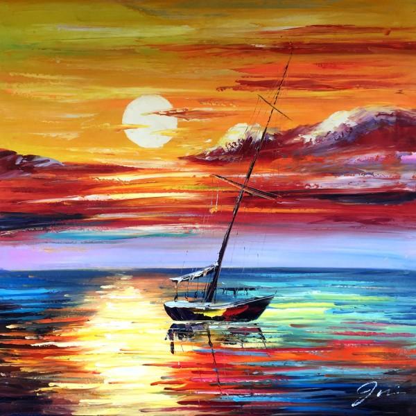 """Schilderij """"Bootje op kleurrijke zee"""""""