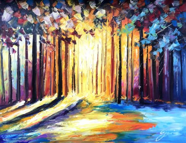 """Schilderij """"Kleurrijk bos"""""""