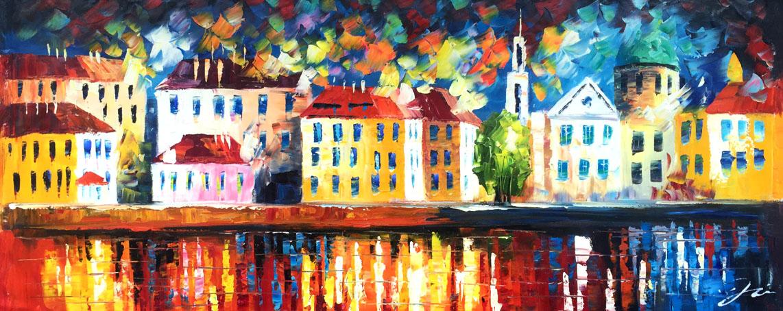 palet schilderij kleurrijke grachtenpanden