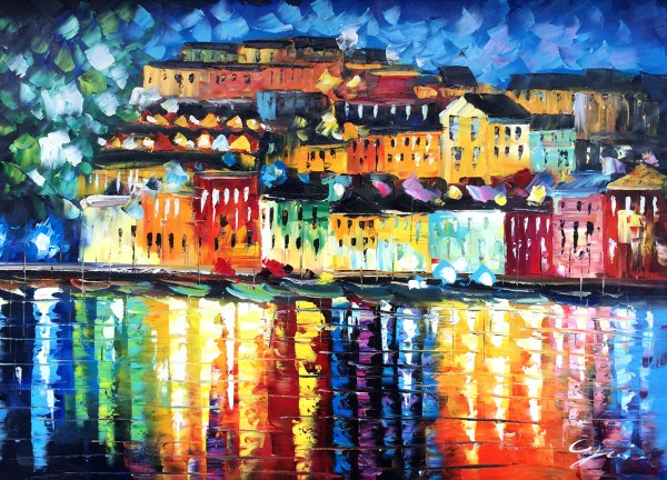 """Schilderij """"Kleurrijke havenstad"""""""