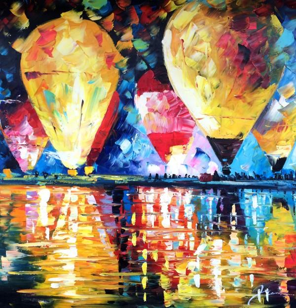 """Schilderij """"Kleurrijke luchtballonnen"""""""
