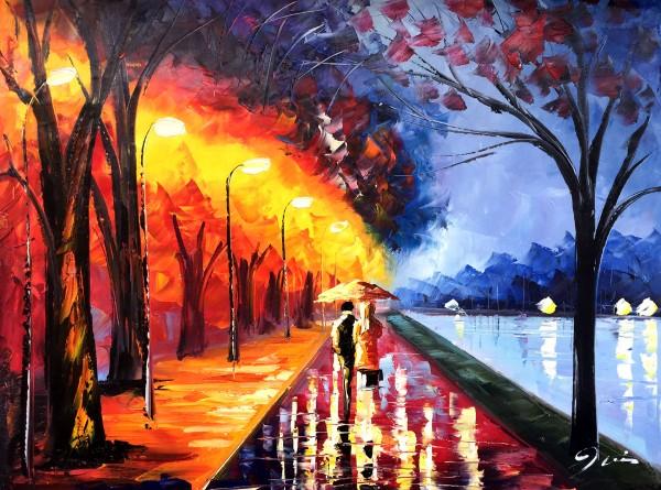 """Schilderij """"Kleurrijke wandeling langs het water"""""""