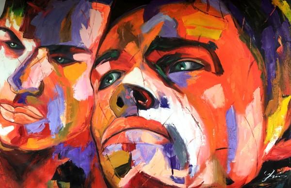 """Schilderij """"Twee kleurrijke mannen"""""""