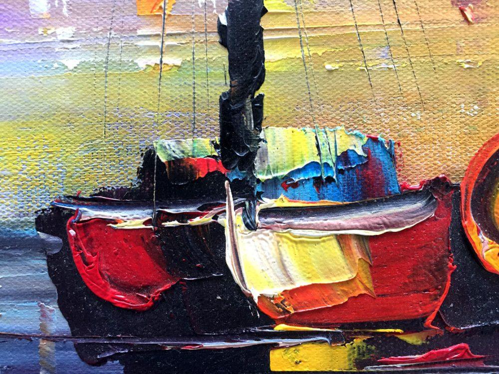 paletschilderij kleurrijk havenstadje close-up