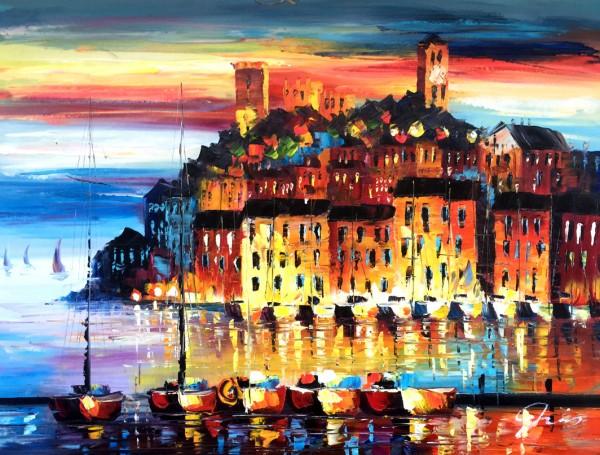 """Schilderij """"Kleurrijk havenstadje"""""""