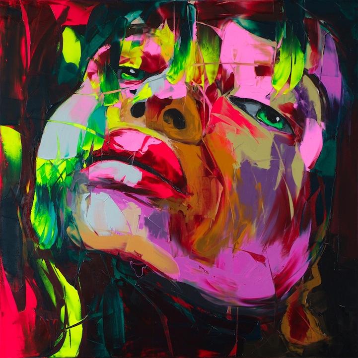 """Schilderij """"Kleurrijk gezicht paars"""""""