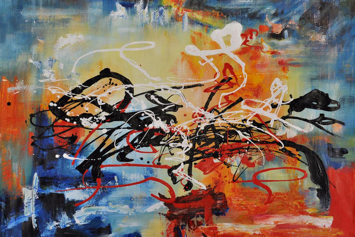 schilderij kleurrijk lijnenspel landscape