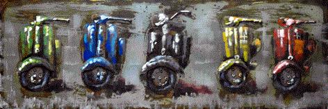 """Metalen schilderij """"5 Scooters"""""""