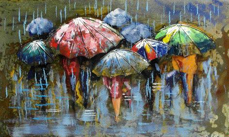 Metalen 3d schilderij mensen in de regen te koop - Associatie van kleur e geen schilderij ...