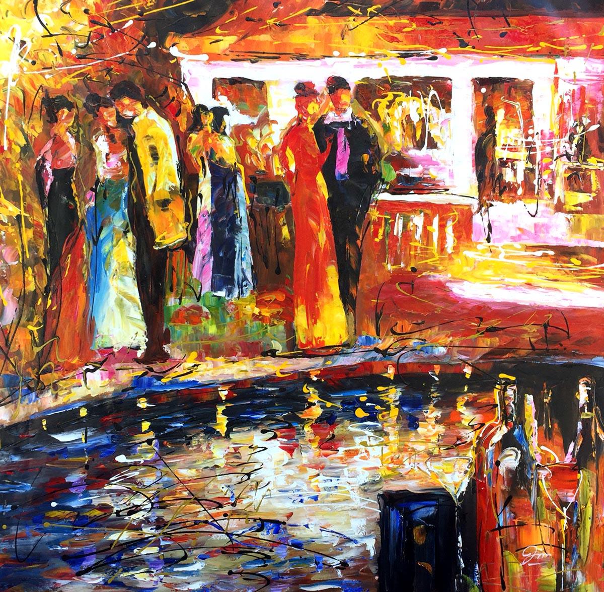 schilderij gezellig tuinfeest