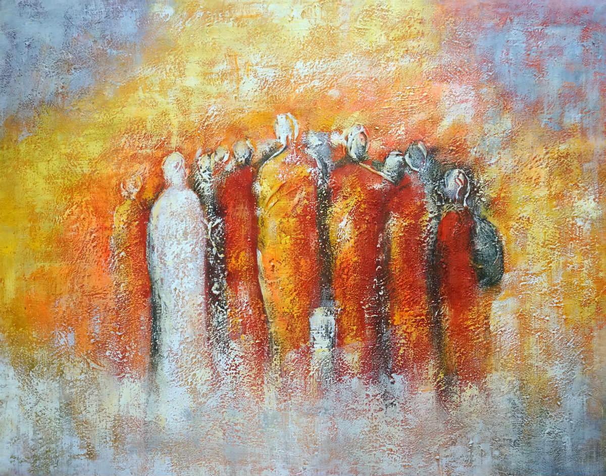 abstract schilderij van een groepje mensen