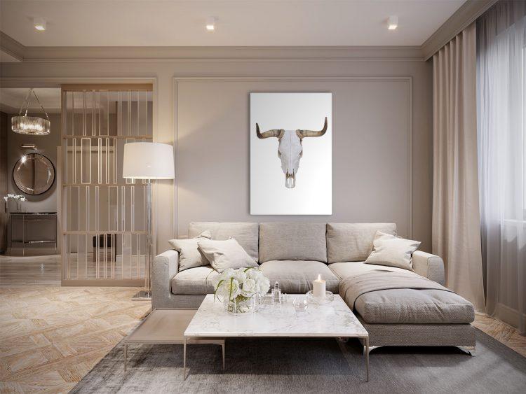 """Aluminium schilderij """"Bull skull with horns"""" van Mondiart"""