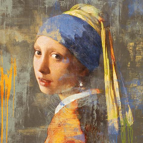 """Aluminium schilderij """"Meisje met de parel 2.0 vierkant (dibond)"""" van Mondiart"""