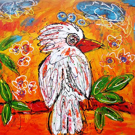 """Aluminium schilderij """"Lieke – Witte vogel"""" van Mondiart"""