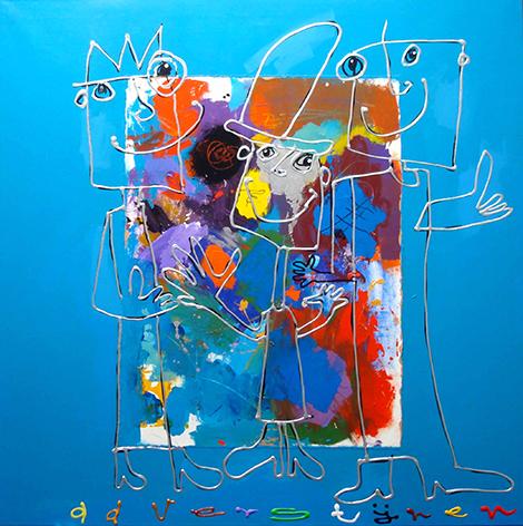 """Aluminium schilderij """"Ad Verstijnen – Drie poppetjes"""" van Mondiart"""