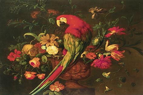 Papegaai en bloemen
