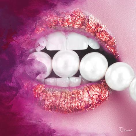 """Aluminium schilderij """"Bas – Pearls Pink"""" van Mondiart"""