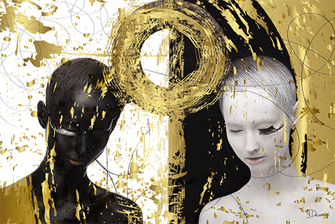 "Aluminium schilderij ""Bas – Black, white and gold 1"" van Mondiart"