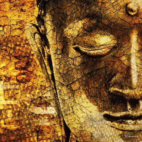 """Aluminium schilderij """"Bas – Golden Buddha"""" van Mondiart"""